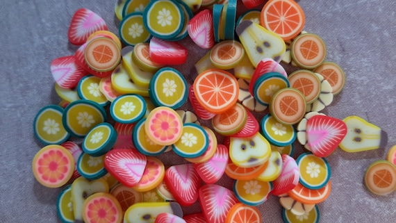100 Pcs Sliced Fimo Fruits Nail Art Fruit Slices Polymer Etsy