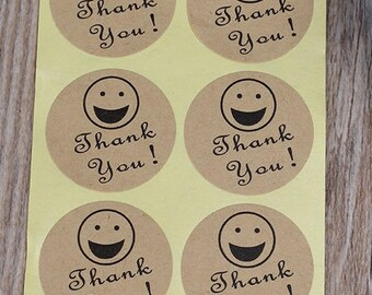 Thank you stickers, thank you Stickers stickers, smiling face stickers, 3 cm