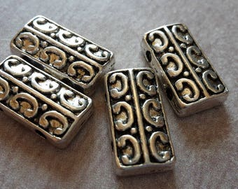 5 pcs, beads, dividers rectangle MULTISTRAND boho silver Metal beads, 14 x 8 mm