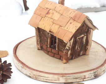 Fairy House Holders Wooden Candle Holder Natural Materials Pine Bark Birch Moss Decor Home Kids Lovers