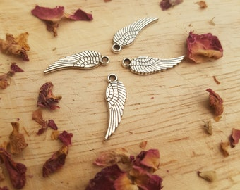 4 tiny angel wing silver charms - angel wings - silver wing charms