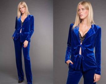 Blue velvet suit, blue pants,Blue Jacket.