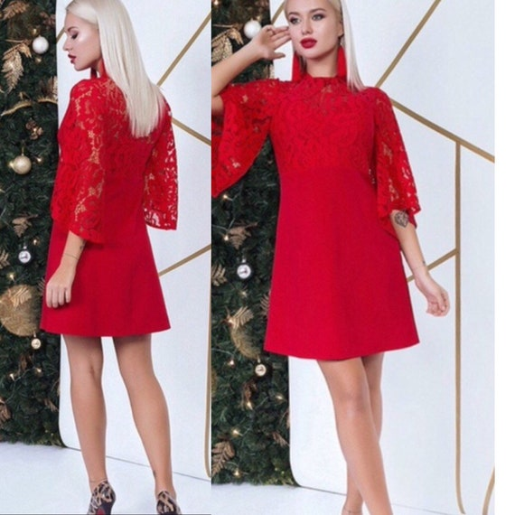 Red lace cocktail dress, Prom dress, Red Amazing Dress, Perfect outfit, Air dress, Bridesmaid dress, holiday dress