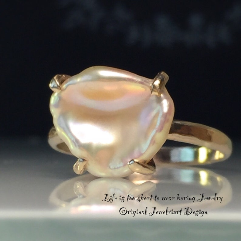 Rose Gold Pearl RingBlush Gold Pearl RingKeshi Pearl RingOne of a Kind RingBaroque Pearl RingJune/'s BirthstoneFree US Ship.