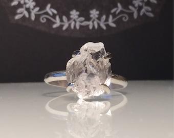 Raw Quartz Crystal Ring/Crystal Ring/Raw Organic Gemstone Ring/ Rough Gemstone Silver Ring./ Healing Crystal Ring/Girlfriend Gift/ Free Ship