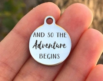 ZF18 Quantity Options Not All Who Wander Are Lost Silver Tone Made To Order Adventure Stainless Steel Charm Laser Engraved