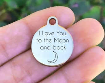 Charms & Pendants 2 I Love You To The Moon And Back Pendants Charms Antiqued Silver Quote Charms Fashion Jewelry