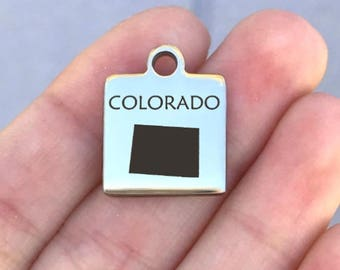 4 Colorado State Charms Antique Silver Tone 2 Sided SC6333