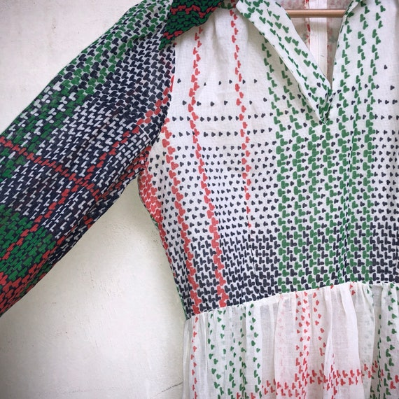 Vintage 70s dress, poly dress, big collar, green,… - image 5