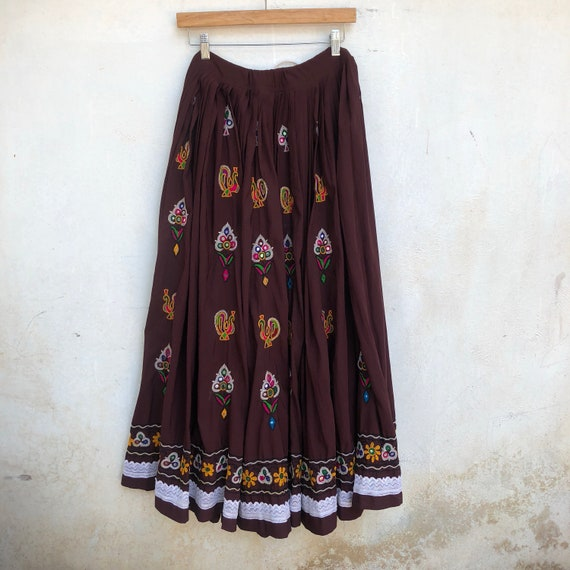 70s skirt, Indian vintage, Gujarati, green, ethnic