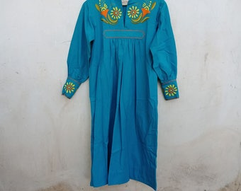 Vintage mexican tunic dress, embroidery, guatemala, cotton, 70s, hippie, gypsy, blue, boheme, festival, long sleeve, hand embroidery,