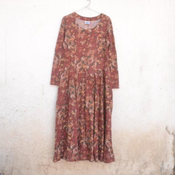 Vintage floral dress, red, boho, botanical, retro,