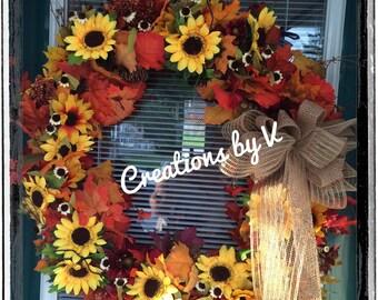 Fall/Autumn Sunflower wreath