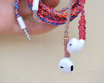 Tortilla Tiesa-- Real Apple Iphone wrapped macrame earbuds