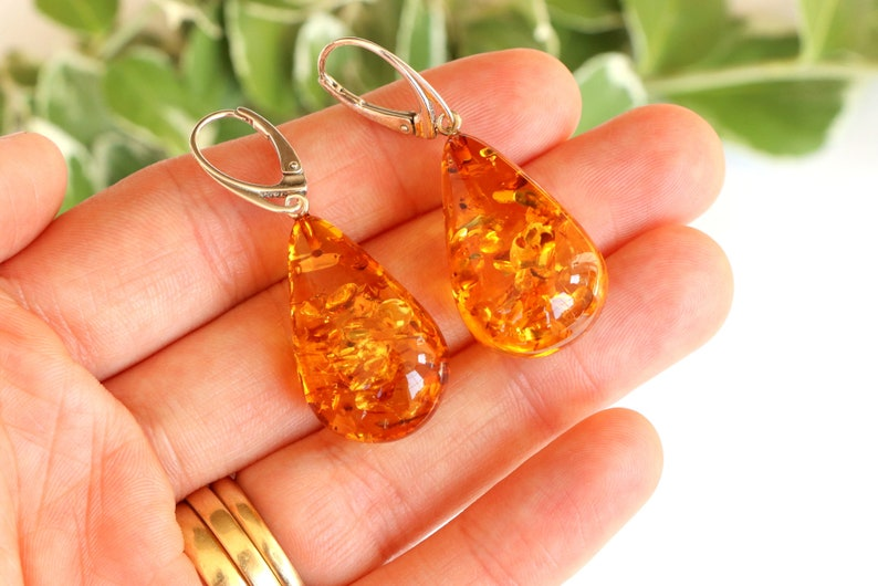 Massive elegant amber earrings drop shape golden amber earrings natural amber jewelry cognac dangle amber earrings gold stone earrings 7.9g