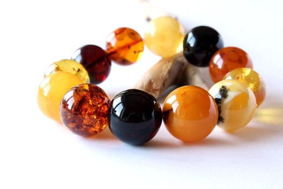Multicolor amber bracelet amber jewelry exclusive elegant bracelet colorful amber jewelry genuine Baltic amber multi-color gemstone