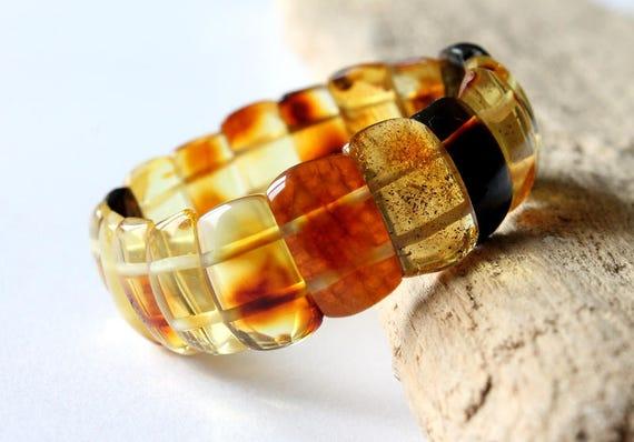 honey bead bracelet organic amber jewelry classic amber 100/% natural Baltic amber 25x13 Lemon amber bracelet lemon raw amber bracelet