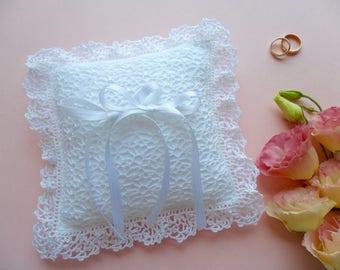 Crochet Wedding Linen Ring Pillow White Ivory Etsy