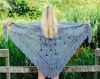 Crochet dark grey shawl