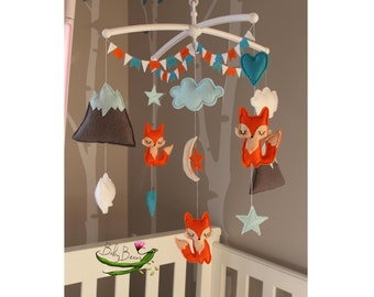 Fox woodland themed baby mobile. Made to order. Baby Beans NZ
