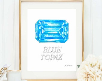 Blue Topaz Watercolor Rendering printed on Paper