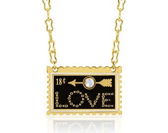 LOVE Stamp Enamel Necklace