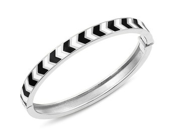Chevron Enamel Hinged Bracelet