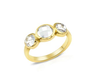 Topaz Three Stone Ring