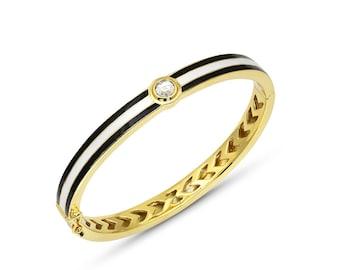 Stripe Enamel Hinged Bracelet