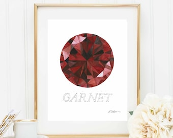Garnet Watercolor Rendering printed on Paper
