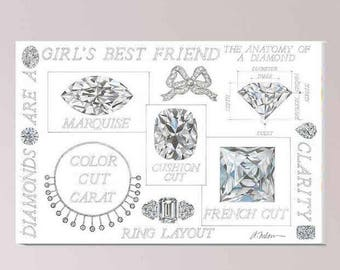 Diamonds are a Girl's Best Friend Watercolor printed on Canvas