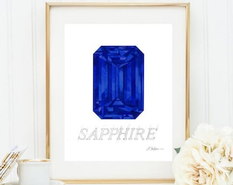 Sapphire Watercolor Rendering printed on Paper