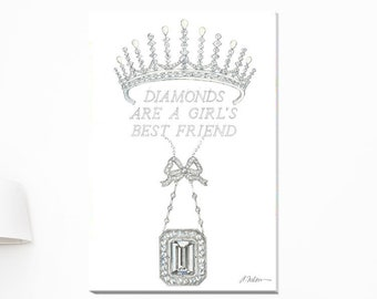 Diamonds are a Girl's Best Friend, Series II Watercolor printed on Canvas