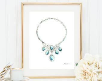 Watercolor Necklace Rendering with Diamonds and Turquoise printed on Paper
