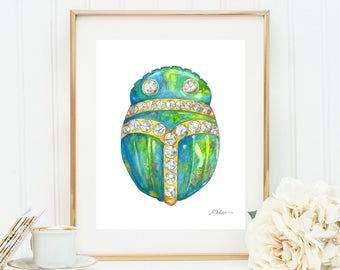 Scarab Watercolor Rendering Brooch printed on Paper