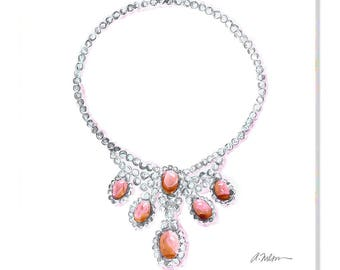 Watercolor Necklace Rendering with Diamonds and Coral printed on Canvas