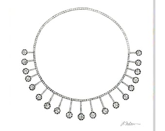 Georgian Necklace Watercolor Rendering in Silver with White Paste Stones printed on Canvas
