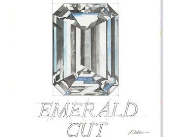 Emerald Cut Diamond Watercolor Rendering printed on Canvas