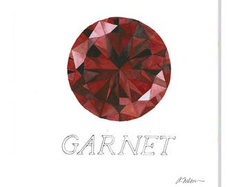 Garnet Watercolor Rendering printed on Canvas