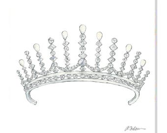 Diamond & Pearl Tiara Watercolor Rendering printed on Canvas