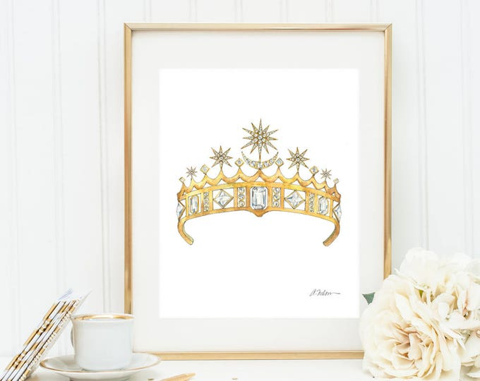 Featured listing image: Star & Crescent Moon Tiara Watercolor Rendering printed on Paper