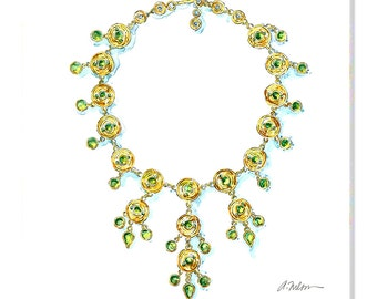 Watercolor Necklace Rendering in Yellow Gold with Peridots printed on Canvas