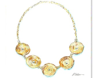 Watercolor Necklace Rendering in Yellow Gold printed on Canvas