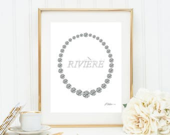 Old European Cut Diamond Riviére Watercolor Rendering printed on Paper