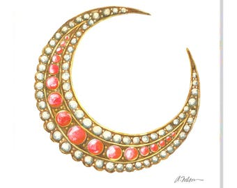Victorian Coral and Pearl Crescent Moon Brooch Watercolor Rendering printed on Canvas
