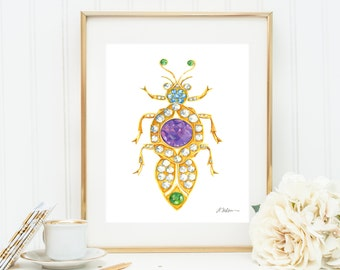 Bug Brooch Watercolor Rendering in Yellow Gold with Diamonds, Sapphires, Amethyst, and Tsavorite Garnets printed on Paper
