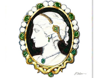 Cameo Brooch Watercolor Rendering in Yellow Gold with Agate, Emeralds, Diamonds and Pearls printed on Canvas