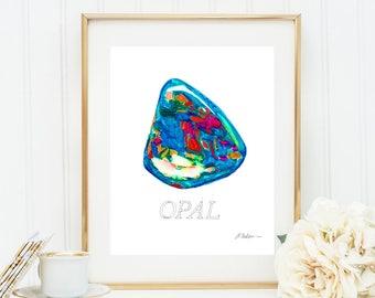 Opal Watercolor Rendering printed on Paper