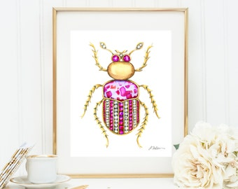 Bug Brooch Watercolor Rendering in Yellow Gold with Diamonds, Pink Sapphire and Jasper printed on Paper
