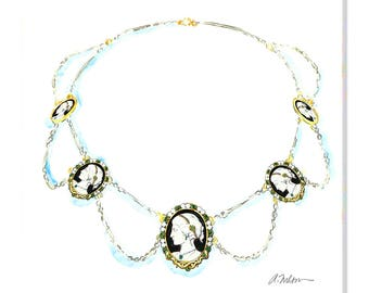 Watercolor Rendering of a Necklace in Yellow Gold, Sterling Silver and Cameos printed on Canvas